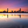 Sherbet Sunrise over Back Bay Boston Skyline and Icy Charles River - Cambridge MA USA