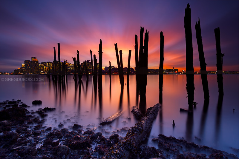 Boston Skyline at Sunset with Harbor and Decayed Pier from Carlton's Wharf East Boston