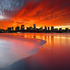 Red Sunrise over Icy Charles River and Downtown Boston Skyline