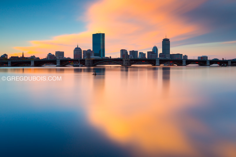 Charles River, Longfellow Bridge, and Back Bay Skyline at Sunrise from East Cambridge Massachusetts