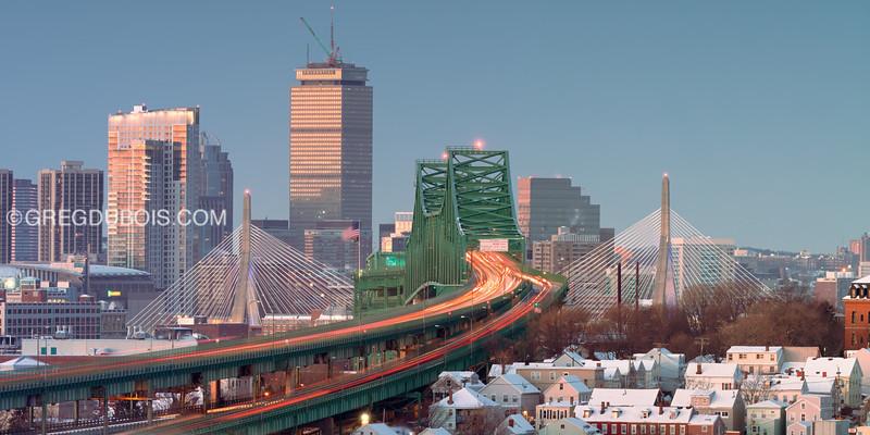 Tobin Bridge and Chelsea Houses with Zakim Bridge and Boston Skyline Sunrise