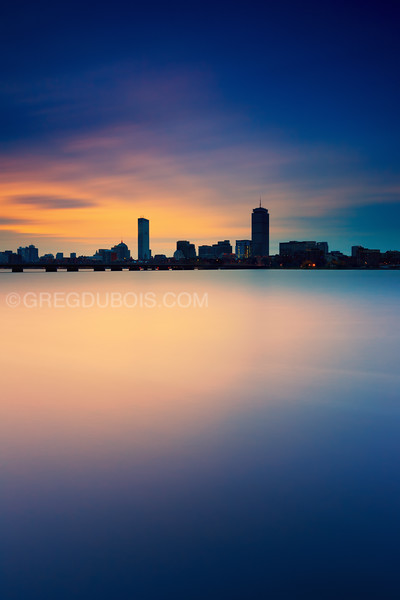 Sunrise over Boston Skyline Silhouette and Charles River with Prudential and Hancock Towers