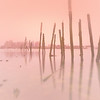Pink Foggy Sunrise over Boston Harbor and Boston Skyline with Decayed Pilings, Carlton's Wharf East Boston