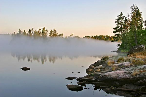 Morning mist on Bear Trap Lake
