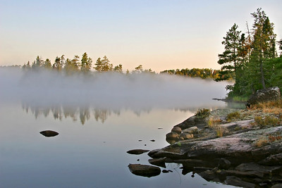Morning mist on Bear Trap Lake
