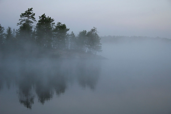 Early morning mist on Bear Trap Lake
