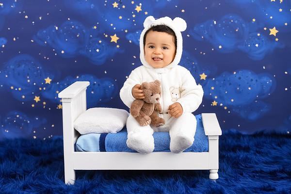 baby boy in teddy bear pajamas bedtime set
