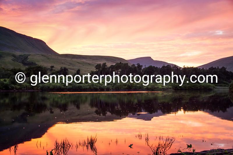 Sunset Neuadd Reservoir, Brecon Beacons, National park – taken one summers evening from the dam of the Neuadd Reservoir.