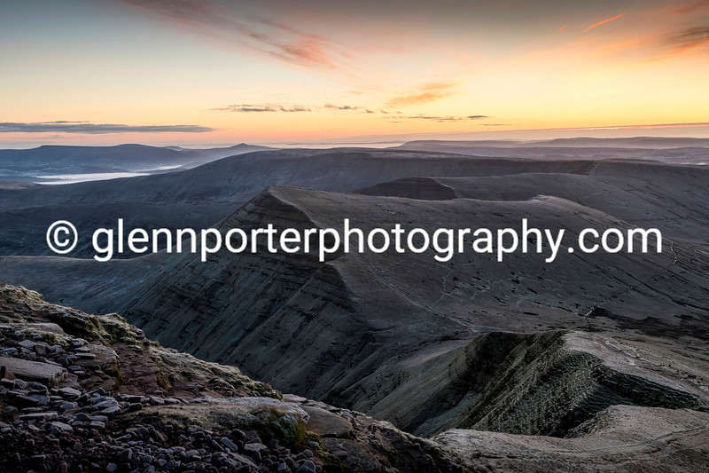 Sunrise over Cribyn with the Sugar Loaf in the distance behind.
