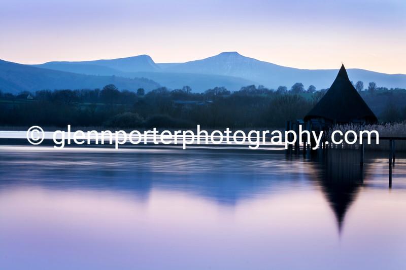 Llangorse Lake evening looking towards Pen y Fan