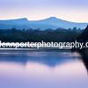 Llangorse Lake evening looking towards Pen y Fan, Brecon Beacons National Park.