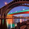 The 35W Bridge lit in Green for St. Patricks Day