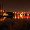 The New 35W Bridge is lit up Maroon and Gold for the University of Minnesota Homecoming weekend.