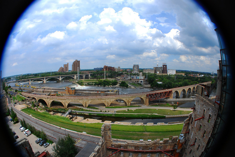 View from Mill City Museum observation deck. Fisheye lens.
