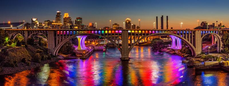Minneapolis lights up the 35W Bridge in rainbow colors for Pride Weekend