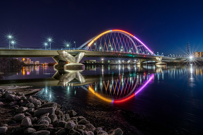 The Lowry Avenue Bridge Reflecting in High Calm Waters