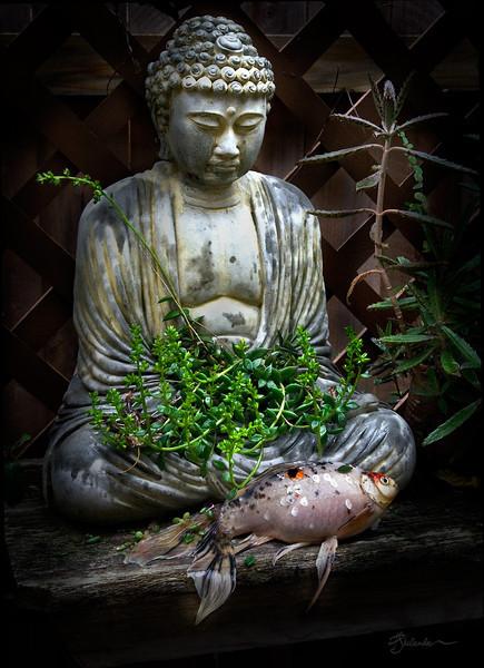 Buddha with Goldfish