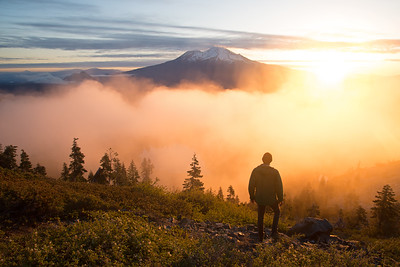 Clouds form at sunrise in the shadow of Mount Shasta in northern California.