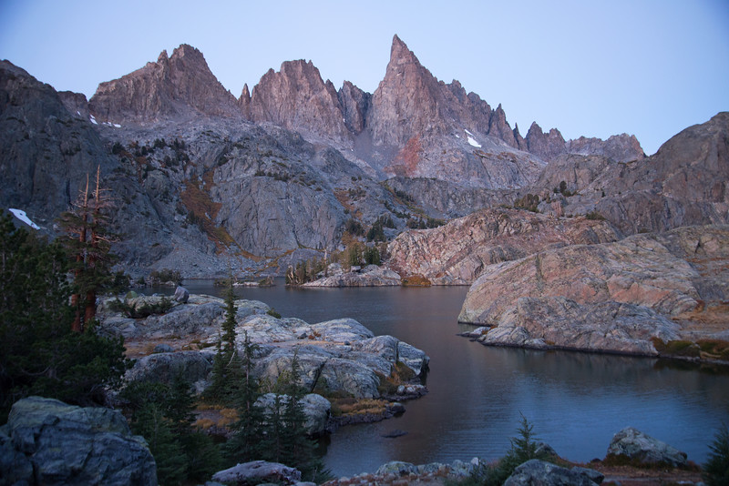 Minaret Lake waves through the colorful metaigneous rock of the Ritter Range in the Ansel Adams Wilderness.