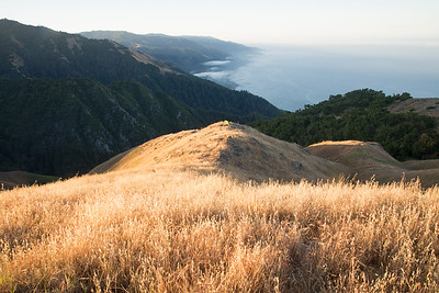 Camping on a grassy ridge high above the Pacific Ocean in the Ventana Wilderness near Big Sur.
