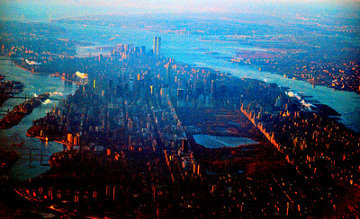Twin Towers on Manhattan Island in early 1980s