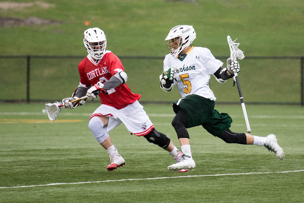 Clarkson Athletics: Men Lacrosse vs. SUNY Cortland. First quarter. Rain Storm