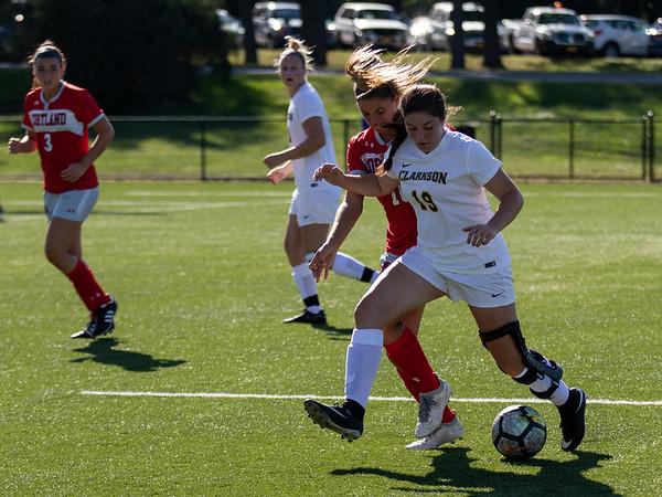 Clarkson Women Soccer vs SUNY Cortland. Clarkson win 2-0.