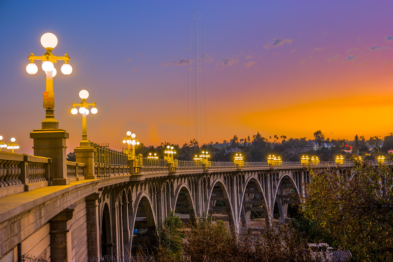 Colorado Street Bridge at sunset.
