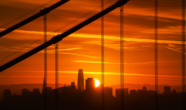 Golden Gate Bridge and sunstar