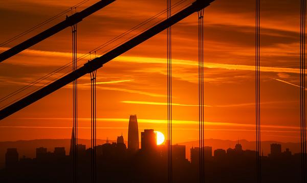 Golden Gate Bridge and sunstar