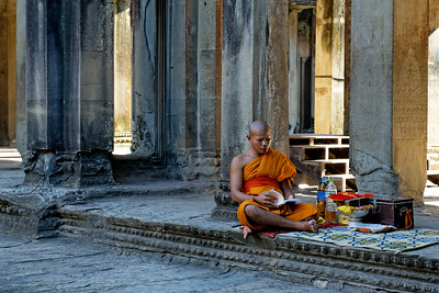 Monk Meditating inside Angkor Wat, Siem Reap, Cambodia
