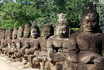 Angkor Thom South Gate Causeway Demos, Siem Reap, Cambodia