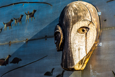 A metal mural adorns the side of a building at UAF's Northwest Campus in Nome.  Filename: CAM-16-4865-101.jpg
