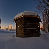 "The 1841 Russian blockhouse stands at first light on its new foundation near the University of Alaska Museum of the North. It was the first structure built by the Russian-American Company at Kolmakovsky Redoubt near Aniak. It is one of the oldest Russian-era structures in Alaska. In 1929, the blockhouse was disassembled and moved to Fairbanks where last summer a preservation team completed work on reattaching an updated roof outfitted with tundra sod and tamarack poles.  <div class=""ss-paypal-button"">Filename: CAM-12-3277-55.jpg</div><div class=""ss-paypal-button-end"" style=""""></div>"