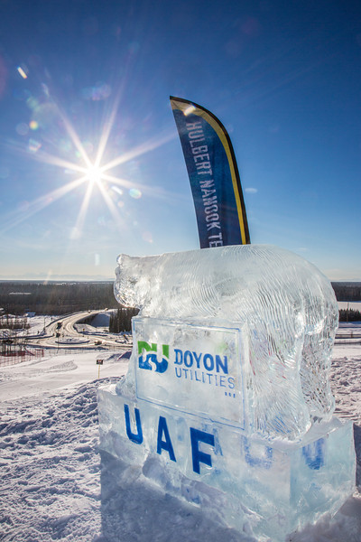 "An ice carving donated by Doyon Utilities stands near the top of the Hurlbert Nanook Terrain Park on a bluebird February day on the Fairbanks campus.  <div class=""ss-paypal-button"">Filename: CAM-14-4088-12.jpg</div><div class=""ss-paypal-button-end"" style=""""></div>"