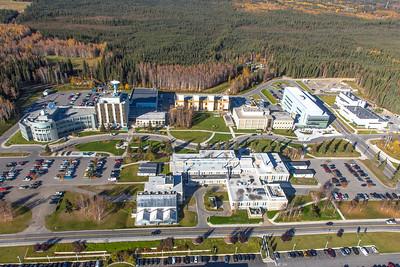 Aerial photo of the Fairbanks campus.  Filename: CAM-14-4311-213.jpg