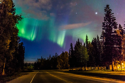 The northern lights appear in the eastern sky above North Tanana Drive on the Fairbanks campus early on a September morning.  Filename: CAM-13-3940-3.jpg