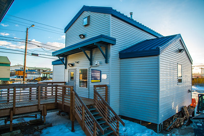 UAF's Northwest Campus in Nome includes several structures connected by boardwalk, such as the new Science Building.  Filename: CAM-16-4865-161.jpg