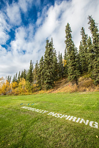 UAF's hashtag slogan appears at various locations around the Fairbanks campus.  Filename: CAM-12-3554-36.jpg