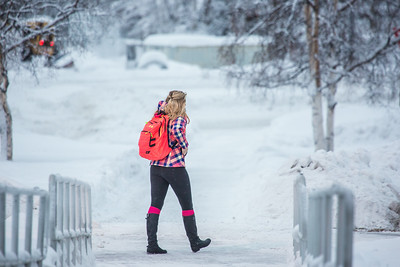 Students make their way around the Fairbanks campus through some freshly fallen snow on the first day of classes in the Spring 2014 semester.  Filename: CAM-14-4038-33.jpg