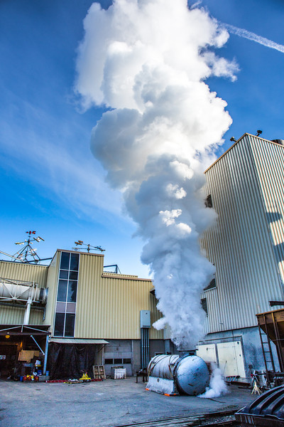 """High pressure steam is released from a tank near UAF's power plant in the Atkinson Building on the Fairbanks campus.  <div class=""""ss-paypal-button"""">Filename: CAM-12-3542-47.jpg</div><div class=""""ss-paypal-button-end"""" style=""""""""></div>"""