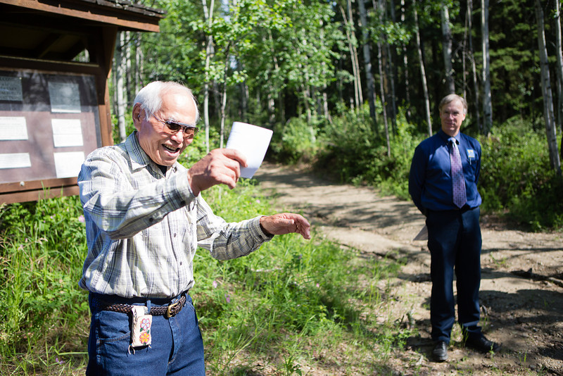"Robert Charlie says an Athabaskan blessing at the beginning of the dedication ceremony of the Les Viereck Nature Trail.  <div class=""ss-paypal-button"">Filename: CAM-12-3435-20.jpg</div><div class=""ss-paypal-button-end"" style=""""></div>"