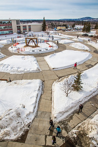 The tradtional ice arch, designed and built by students in UAF's College of Engineering and Mines, stands each spring in Cornerstone Plaza on the Fairbanks campus.  Filename: CAM-13-3776-22.jpg