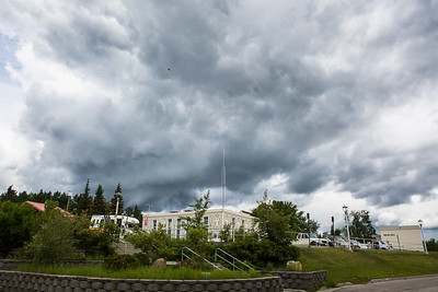 Clouds gather above the Fairbanks campus during a summer storm.  Filename: CAM-16-4917-40.jpg