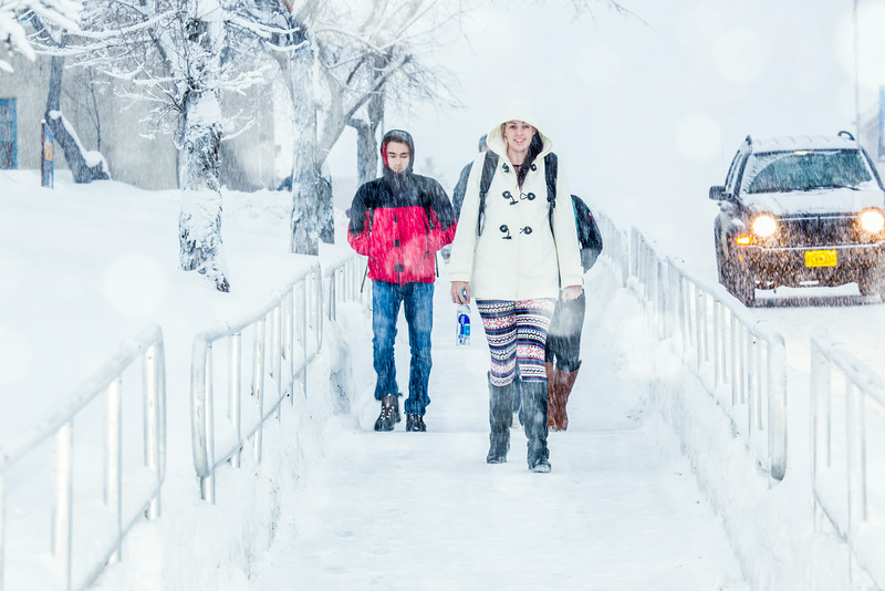 "Students make their way around the Fairbanks campus through some freshly fallen snow on the first day of classes in the Spring 2014 semester.  <div class=""ss-paypal-button"">Filename: CAM-14-4038-45.jpg</div><div class=""ss-paypal-button-end""></div>"
