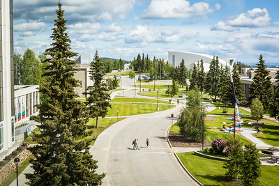 Pedestrians cross Yukon Drive from the Elvey Building on Troth Yeddha' during a sunny, mid-June afternoon. This view is from the Akasofu building looking east toward campus.  Filename: CAM-16-4917-123.jpg