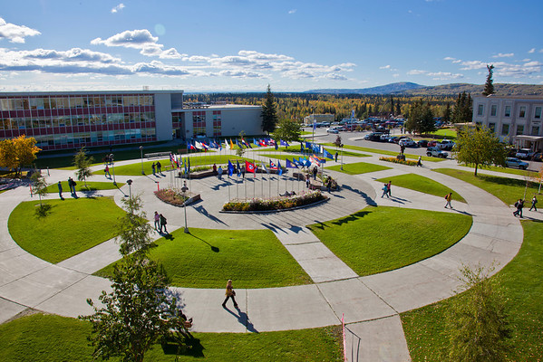 """The view of UAF's Cornerstone Plaza on a September afternoon from the roof of the Brooks Building.  <div class=""""ss-paypal-button"""">Filename: CAM-10-2867-27.jpg</div><div class=""""ss-paypal-button-end"""" style=""""""""></div>"""