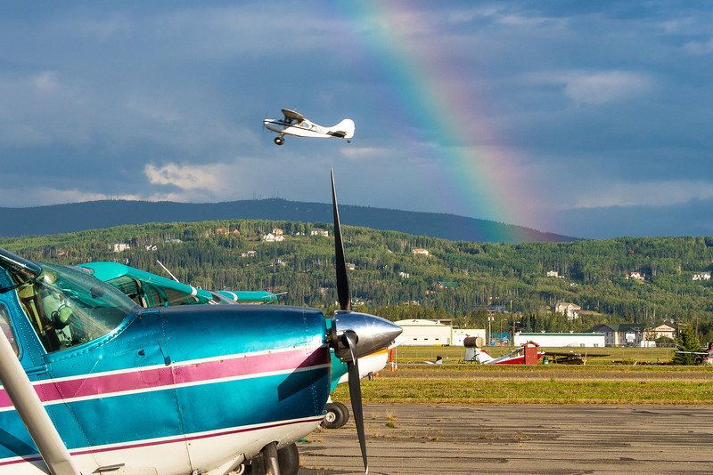 "A rainbow appears behind a small plane as it takes off from the Fairibanks International Airport on a summer morning.  <div class=""ss-paypal-button"">Filename: CAM-12-3497-021.jpg</div><div class=""ss-paypal-button-end"" style=""""></div>"