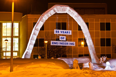 The 2012 ice arch stands temporarily lit up in Cornerstone Plaza.  Filename: CAM-12-3320-53.jpg