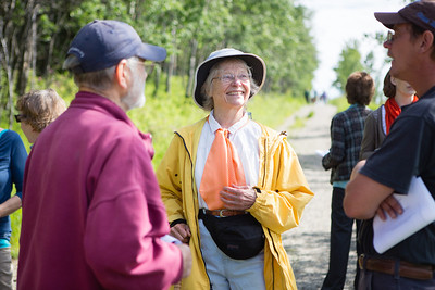 Teri Viereck greets guests near the entrance of the Les Viereck Nature Trail before the dedication ceremony.  Filename: CAM-12-3435-5.jpg